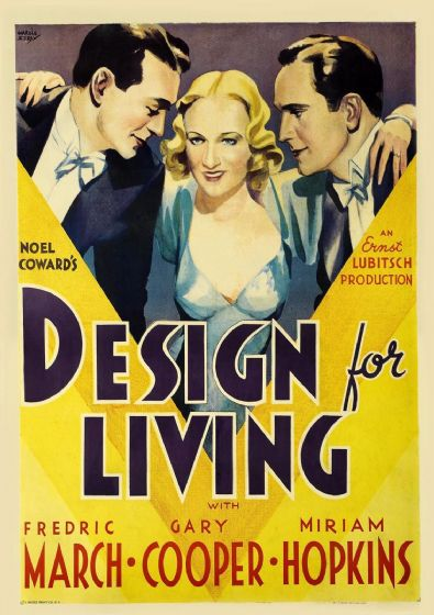 Design For Living, Gary Cooper, Miriam Hopkins, Fredric March, 1933 Vintage Film/Movie Print/Poster. Sizes: A4/A3/A2/A1 (002832)
